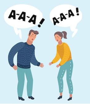 Retrato de una pareja enojada gritando entre sí contra el fondo blanco.
