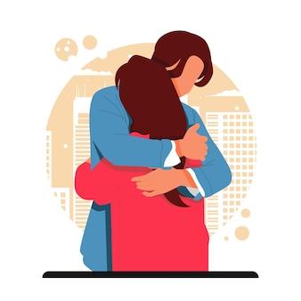 Retrato de pareja romántica abrazándose para el día de san valentín