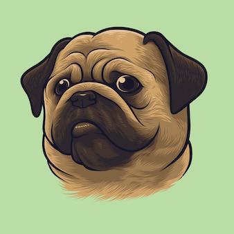 Retrato de perro pug