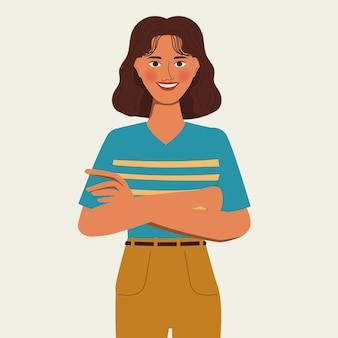 Retrato de personaje de animación mujer cruzando los brazos pose. diseño plano.