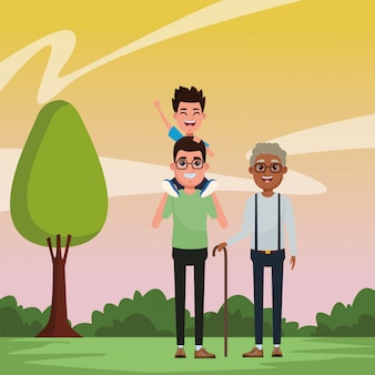 Retrato de personaje de dibujos animados de avatar familiar