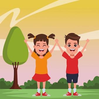 Retrato de personaje de dibujos animados de avatar de niños