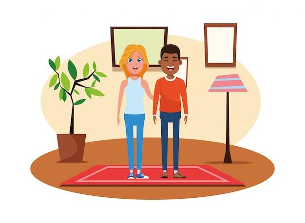 Retrato de personaje de dibujos animados de avatar de pareja