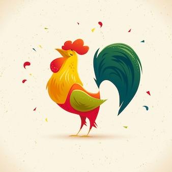 Retrato de personaje de gallo. vector ilustración plana.