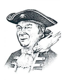 Retrato pirata capitán hombre en barco viajando a través de los océanos y mares.