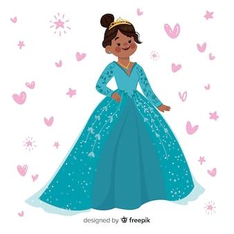 Retrato plano princesa sonriente