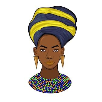 Retrato de una princesa africana aislado sobre un fondo blanco.