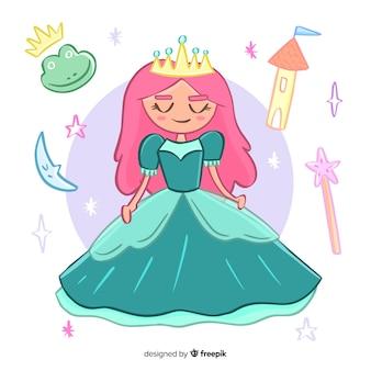 Retrato princesa dibujada a mano con elementos