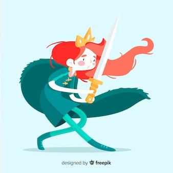Retrato princesa guerrera dibujada a mano