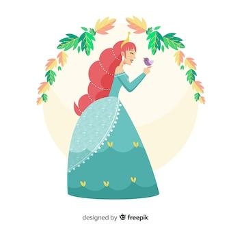 Retrato princesa pelirroja dibujado a mano