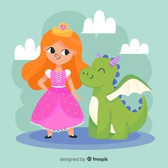 Retrato princesa pelirroja con dragón dibujado a mano
