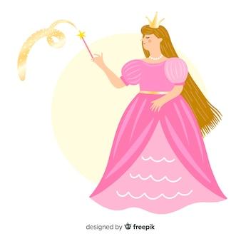 Retrato princesa rubia dibujado a mano