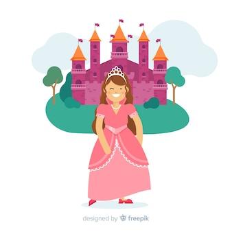 Retrato princesa sonriente plana