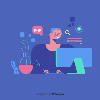 Retrato de programador trabajando con pc.