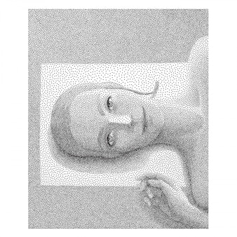 Retrato punteado en blanco y negro