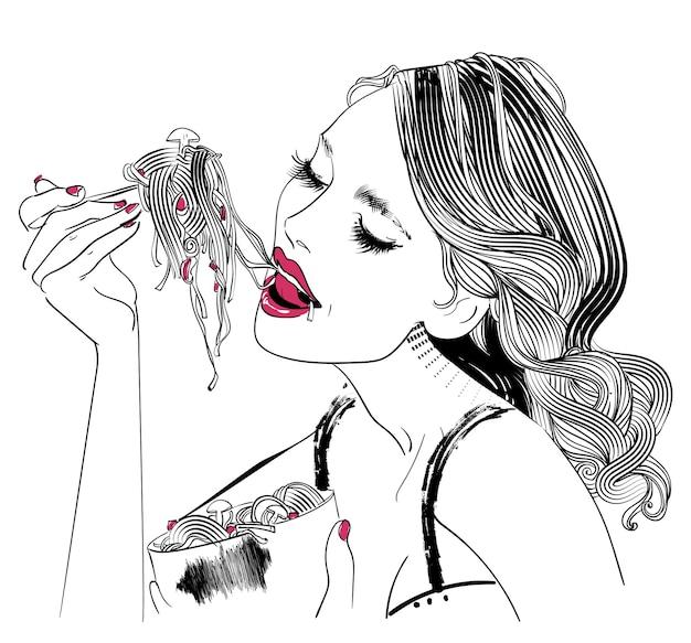 Retrato de retrato de mujer joven con pasta