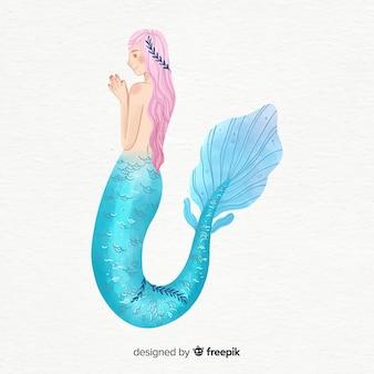 Retrato sirena bonita estilo acuarela