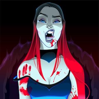 Retrato de un vampiro hermoso.