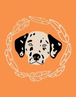 Retrato de vector de ilustración de dibujos animados dálmata con perro y hojas