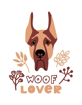 Retrato de vector de la ilustración de dibujos animados de gran danés con perro y letras woof lover