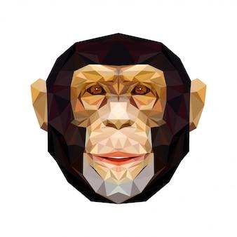 Retrato de vector de mono poligonal. mono de ilustración triangular para usar como estampado en camiseta y póster