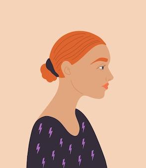 Retrato de vector de niña hermosa mujer concepto de día internacional de la mujer