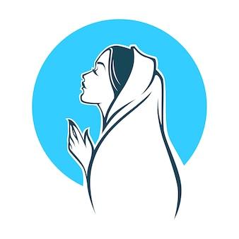Retrato de la virgen maría para su logotipo, etiqueta, emblema