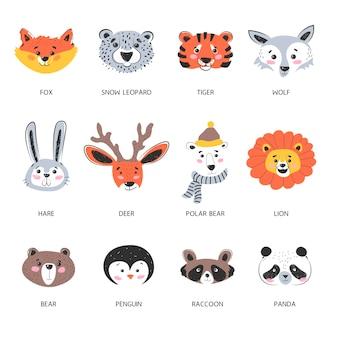 Retratos de animales del bosque de bozales, diseño de criaturas aisladas