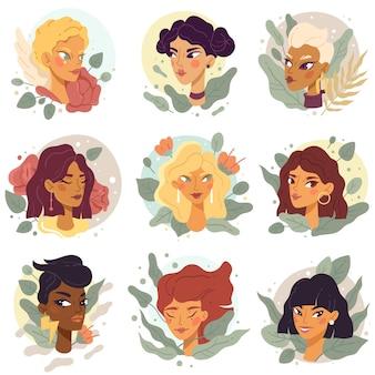 Retratos de avatares femeninos rostros de mujeres hermosas de moda