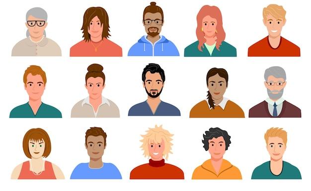 Retratos de avatares de personas multinacionales y de edades mixtas de diversos hombres y mujeres de diferentes razas