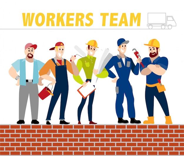 Retratos de empresas de trabajadores: pintor, constructor, ingeniero, fontanero. ilustración.
