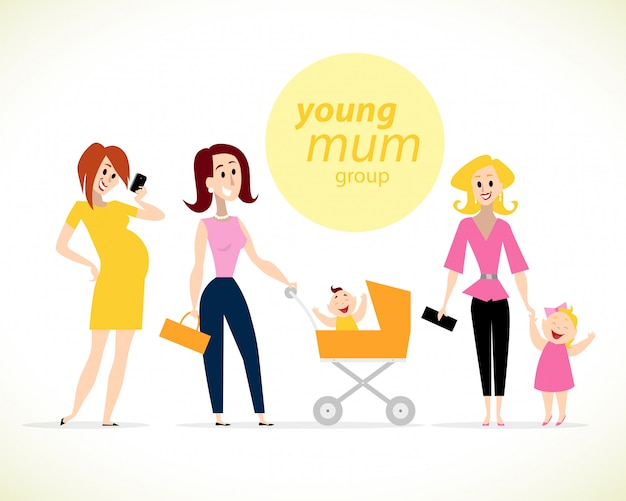 Retratos de madres con niños. ilustración