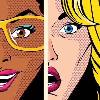 Retratos de mujeres hermosas, diseño de ilustración de estilo pop art