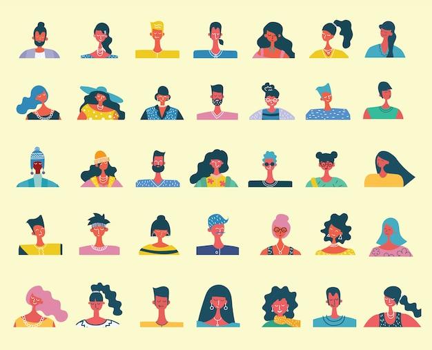 Retratos de personas planas. icono humano sonriente. avatar humano simpáticos personajes lindos. linda gente amable. hombre, icono de niño. mujer, señora, joven icono aislado sobre fondo claro.