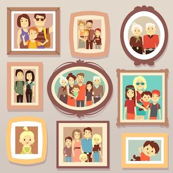 Los retratos sonrientes de la foto de la familia grande en marcos en la pared vector el ejemplo. cuadro de retrato familiar, madre y padre, familia feliz.