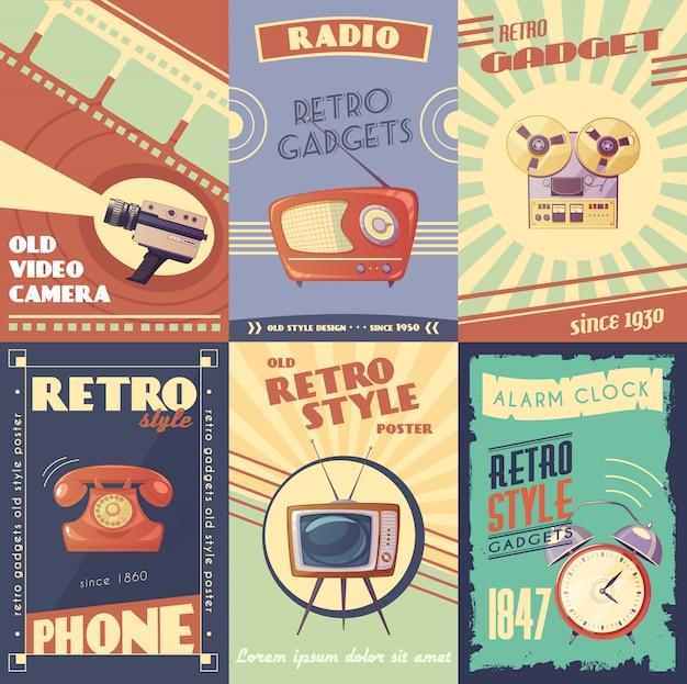 Retro artilugios carteles de dibujos animados con cámara radio reproductor musical teléfono tv despertador