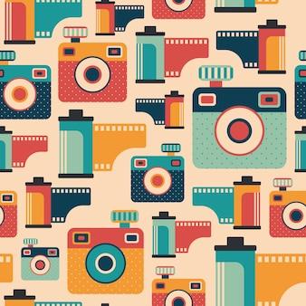 Retro cámaras y películas de patrones sin fisuras.