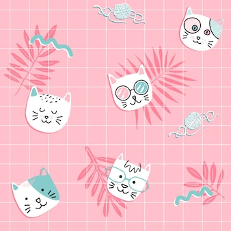 Retro cat seamless pattern