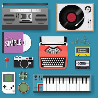 Retro classic entertainment media mixed set icon illustration
