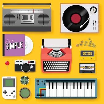 Retro classic entertainment media mixed set icon illustration