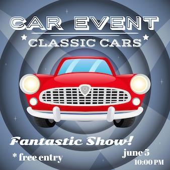 Retro coches clásicos muestran evento auto publicidad cartel ilustración vectorial