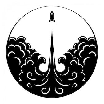 Retro cohete, llama y humo. dibujo en blanco y negro de transporte espacial vintage en un círculo.