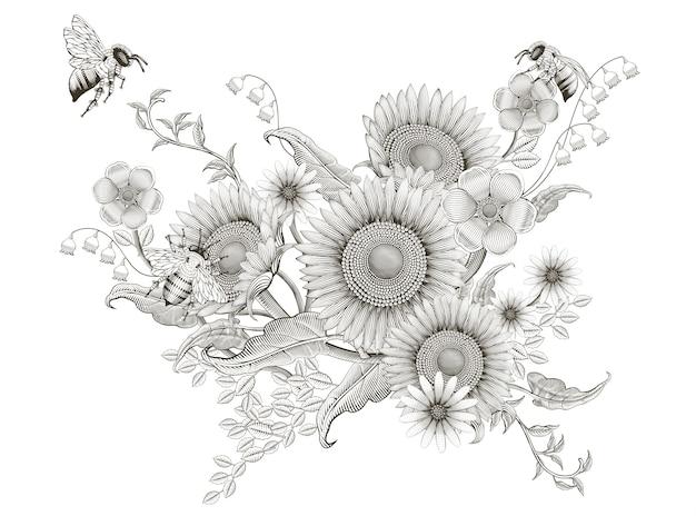 Retro elegante floral, grabado sombreado de girasoles y diseño de abejas sobre fondo blanco.
