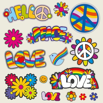 Retro hippie parches vector emblemas