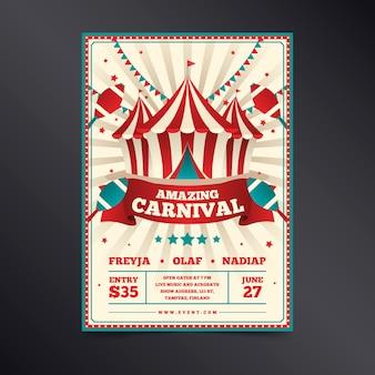 Retro increíble carnaval en blanco y rojo con cintas
