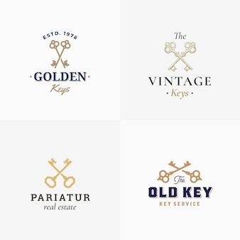 Retro keys signos abstractos o plantillas de logotipo con diferentes siluetas cruzadas de llaves y tipografía con clase.