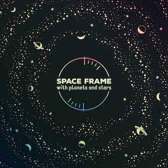 Retro marco futurista con espacio, estrellas y planetas.