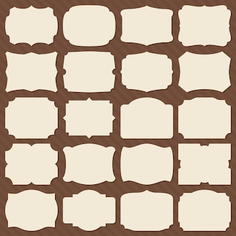 Retro papel en blanco etiqueta formas. marcos elegantes vintage para conjunto de vectores de invitación de boda