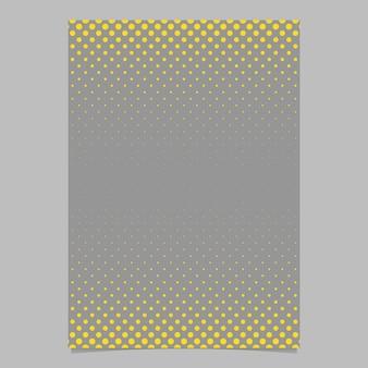 Retro patrón de puntos de mediano plantilla de fondo - documento vectorial, folleto gráfico con círculos amarillos