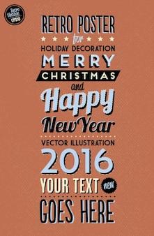 Retro poster de navidad y año nuevo